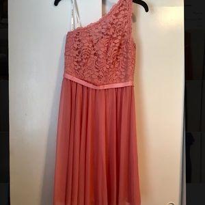 One strap formal half lace dress